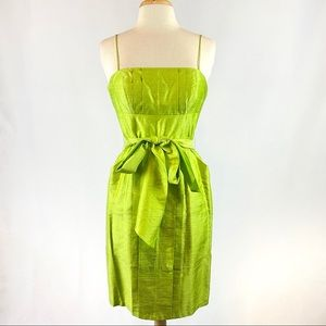 Donna Morgan Lime Green Silk Dress with Tie
